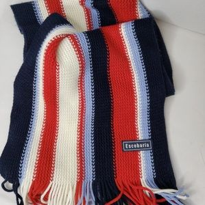 🔑Escobaria Winter Knitted Scarf Red White Blue